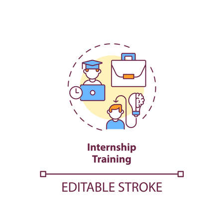 Internship training concept icon. Gaining supervised practical experience idea thin line illustration. Emphasis on on-the-job training. Vector isolated outline RGB color drawing. Editable stroke Vektorové ilustrace