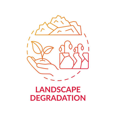Landscape degradation concept icon. Climate change idea thin line illustration. Human-induced processes acting upon the land Vector isolated outline RGB color drawing