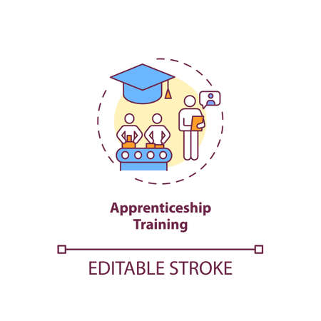 Apprenticeship training concept icon. Staff development idea thin line illustration. Gaining skills, knowledge. Getting qualifications. Vector isolated outline RGB color drawing. Editable stroke