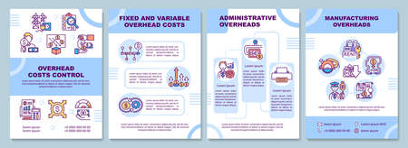 Overhead costs control brochure template. Manufacturing overheads. Flyer, booklet, leaflet print, cover design with linear icons. Vector layouts for magazines, annual reports, advertising posters Иллюстрация
