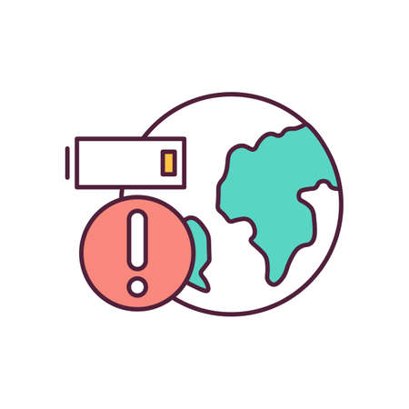 Climate change RGB color icon. Resource depletion. Modern energy efficient technologies. Energy production. Impact of industry on planet earth. Battery charge. Isolated vector illustration