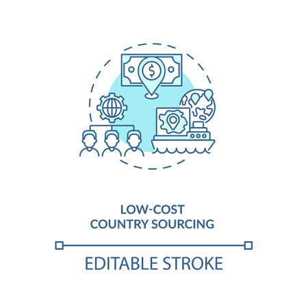 Low-cost country sourcing concept icon. Cost reduction strategy idea thin line illustration. Product improvement. Quality increase. Vector isolated outline RGB color drawing. Editable stroke
