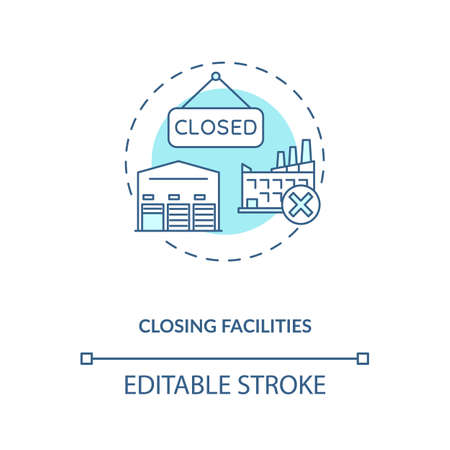Closing facilities concept icon. Business improvement idea thin line illustration. Reducing unnecessary costs. Company work optimization. Vector isolated outline RGB color drawing. Editable stroke