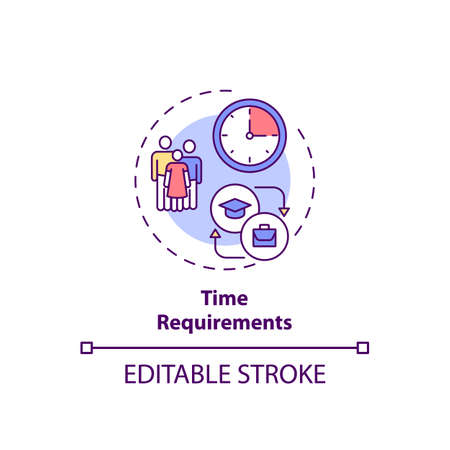 Time requirements concept icon. Staff training disadvantage idea thin line illustration. Normal working hours. Requiring time away from job. Vector isolated outline RGB color drawing. Editable stroke