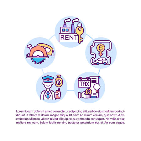 Manufacturing overheads concept icon with text. Overhead costs control. Fixed expenses. PPT page vector template. Brochure, magazine, booklet design element with linear illustrations