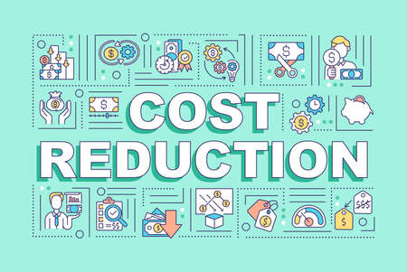 Cost reduction word concepts banner. Decreasing of money expenses in your business. Infographics with linear icons on mint background. Isolated typography. Vector outline RGB color illustration