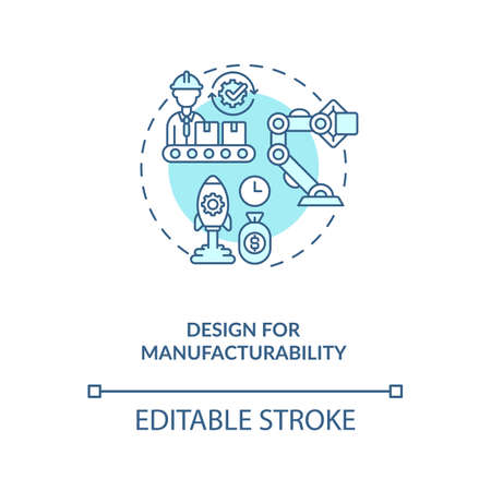 Design for manufacturability concept icon. Reducing unnecessary costs strategy idea thin line illustration. Company improving. Vector isolated outline RGB color drawing. Editable stroke