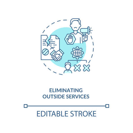 Eliminating outside services concept icon. Cost reduction strategy idea thin line illustration. Reducing unnecessary costs. Profit grow. Vector isolated outline RGB color drawing. Editable stroke