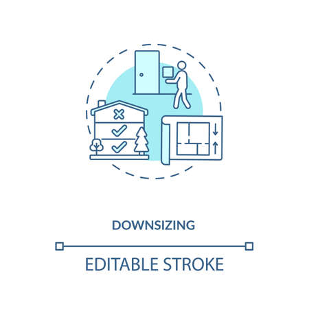 Downsizing concept icon. Manufacture improvement idea thin line illustration. Value chain component. Company product optimization. Vector isolated outline RGB color drawing. Editable stroke
