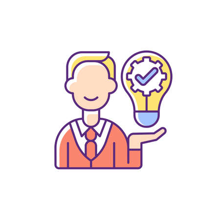 Ownership focus RGB color icon. Employee commitment. Creative work. Job productivity, effectiveness. Corporate values. Company policy. Business project. Isolated vector illustration