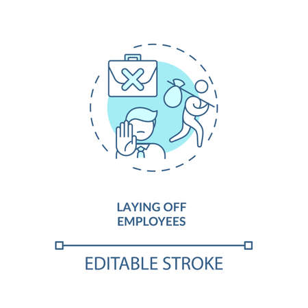 Laying off employes concept icon. Cost reduction idea thin line illustration. Crisis measures. Company restructuring. Value chain components. Vector isolated outline RGB color drawing. Editable stroke Vector Illustration