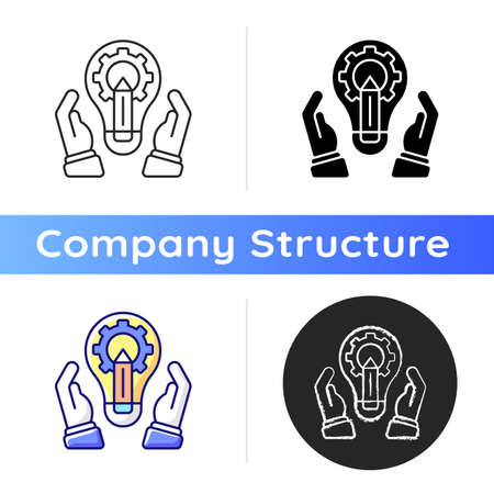 Development department icon. Marketing tactic. Developing new services and products. Branding, expansion in markets. Linear black and RGB color styles. Isolated vector illustrations