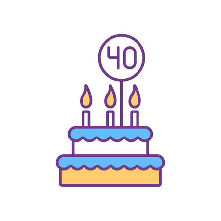 40 birthday cake RGB color icon. Fourty years anniversary celebration. Festive cake with candles, icing and decorations. Special occasion. Congratulate with birthday. Isolated vector illustration