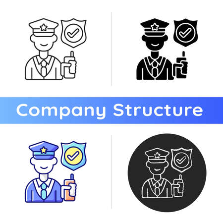 Service staff icon. Machine maintenance, building repairs. Security guard. Office cleaning. Patrolling, monitoring premises. Linear black and RGB color styles. Isolated vector illustrations