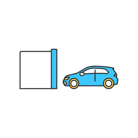 Toll tunnel RGB color icon. Roadway for automobile. Highway for transportation without payment. Direction forward. Cashless payment option. Auto garage service. Isolated vector illustration
