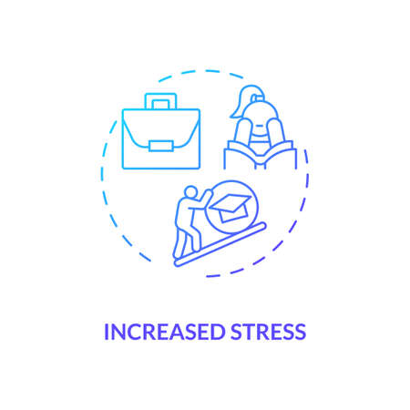 Increased stress concept icon. Staff training disadvantage idea thin line illustration. Cognitive difficulties. Decreased organizational performance. Vector isolated outline RGB color drawing