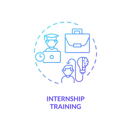 Internship training concept icon. Gaining practical experience idea thin line illustration. Getting permanent job. Providing experiential knowledge. Vector isolated outline RGB color drawing Vektorové ilustrace