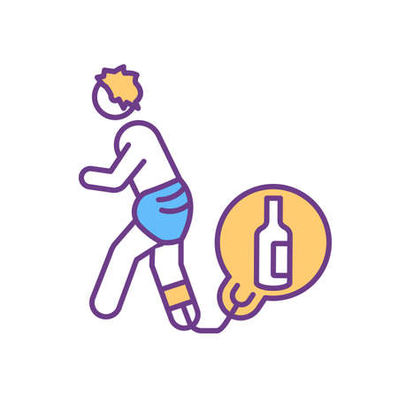 Alcoholism RGB color icon. Alcohol addiction and dependence. Person with unhealthy lifestyle, bad habit. Drug abuse. Alcoholic in need of rehabilitation. Isolated vector illustration