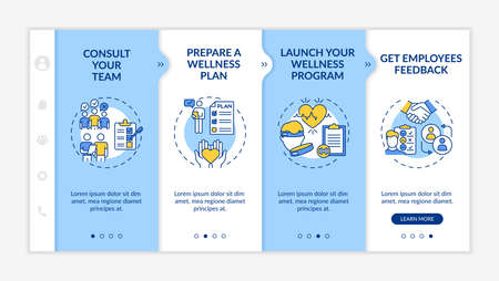 Corporate wellness success tips onboarding vector template. Team consulting. Launching wellbeing program. Responsive mobile website with icons. Webpage walkthrough step screens. RGB color concept