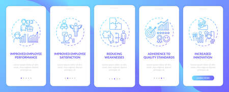 Employee training benefits onboarding mobile app page screen with concepts. Performance, satisfaction walkthrough 5 steps graphic instructions. UI vector template with RGB color illustrations