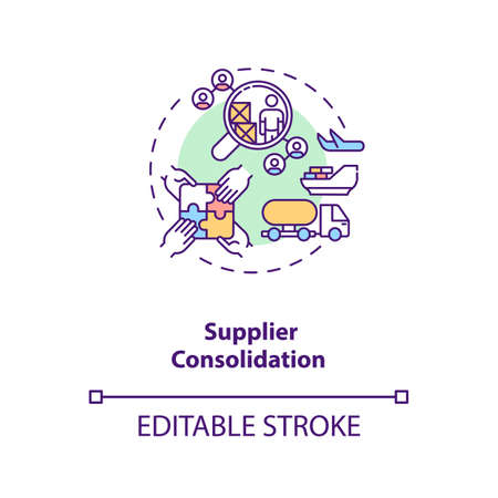 Supplier consolidation concept icon. Product quality improvement idea thin line illustration. Cost reduction strategy. Profit increase. Vector isolated outline RGB color drawing. Editable stroke