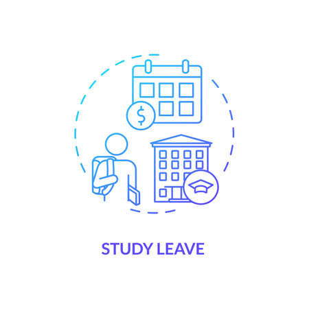Study leave concept icon. Paid leave idea thin line illustration. Ability to pursue studies course. Attending courses. Releasing from duties performance. Vector isolated outline RGB color drawing