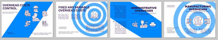 Overhead costs control brochure template. Administrative overheads. Flyer, booklet, leaflet print, cover design with linear icons. Vector layouts for magazines, annual reports, advertising posters