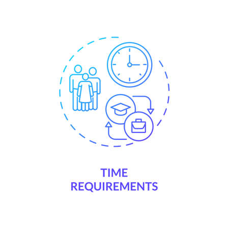 Time requirements concept icon. Staff training disadvantage idea thin line illustration. Normal working hours. Time-bound. Schedule sessions. Training effort. Vector isolated outline RGB color drawing