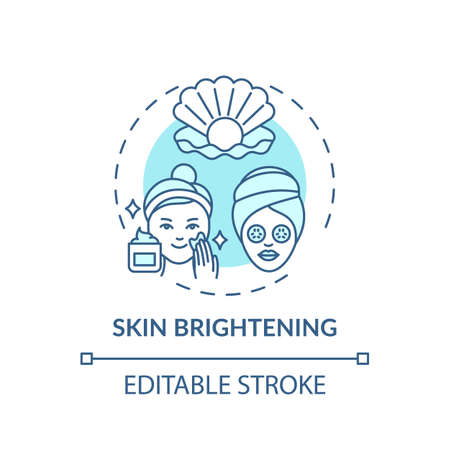 Skin brightening concept icon. Face mask effect idea thin line illustration. Fading dark spots and acne scars. Cleansers, moisturizers. Vector isolated outline RGB color drawing. Editable stroke
