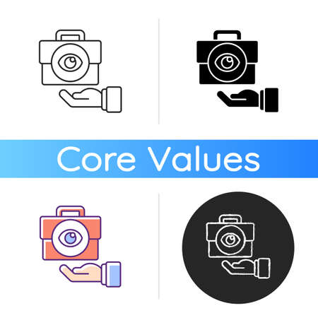 Transparency icon. Business mission. Company vision. Core corporate values and ethics. Service with integrity. Vision for project. Linear black and RGB color styles. Isolated vector illustrations Ilustração