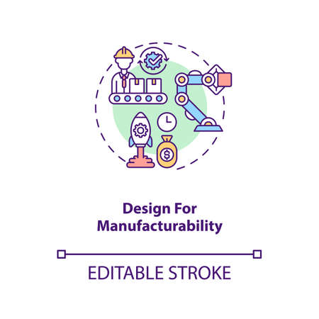 Design for manufacturability concept icon. Cost reduction strategy idea thin line illustration. Business process optimization. Vector isolated outline RGB color drawing. Editable stroke