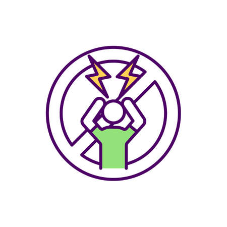 Reducing anxiety attacks RGB color icon. Work-related stress. Panic disorder treatment. Job burnout. Physical and emotional exhaustion. Stress-related health problems. Isolated vector illustration