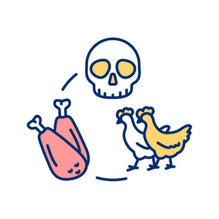 Animal killed for food RGB color icon. Chicken for food. Poultry meat. Dead hen. Vegan activism. Animal rights awareness. Stop violence against animals. Isolated vector illustration