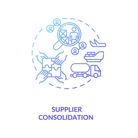 Supplier consolidation concept icon. Product quality improvement idea thin line illustration. Cost reduction strategy. Profit increase. Business optimization. Vector isolated outline RGB color drawing