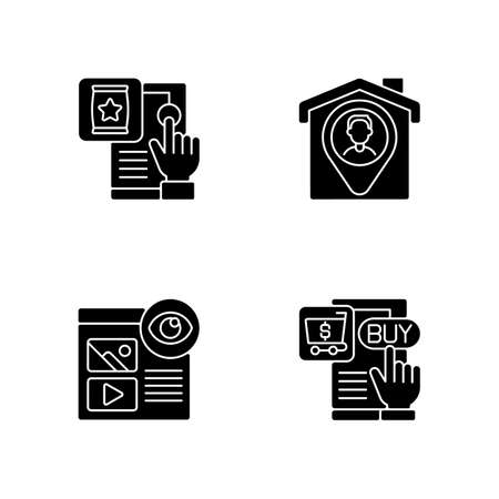 Web analytics black glyph icons set on white space. Recording all views numbers of specific pages. Gathering important data on your web application. Silhouette symbols. Vector isolated illustration