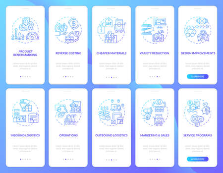 Value chain components onboarding mobile app page screen with concepts set. Company optimization walkthrough 5 steps graphic instructions. UI vector template with RGB color illustrations