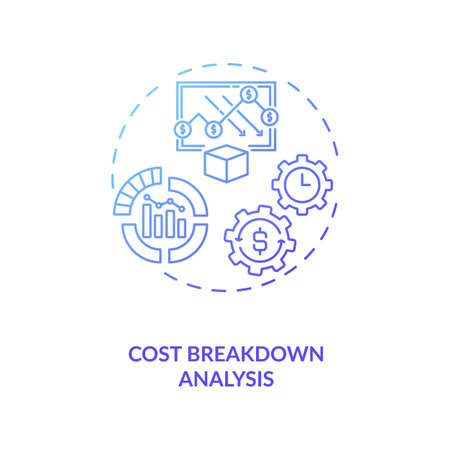 Cost breakdown analysis concept icon. Cost reduction strategy idea thin line illustration. Company improving. Production optimization mechanism. Vector isolated outline RGB color drawing
