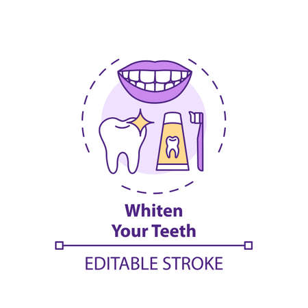Whitening teeth concept icon. Home beauty procedure idea thin line illustration. Teeth bleaching. Aesthetic results. Stains removal. Vector isolated outline RGB color drawing. Editable stroke