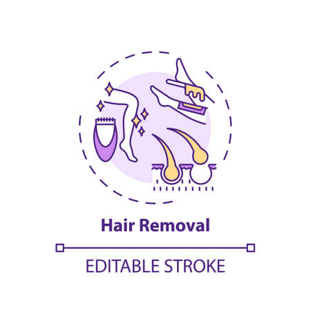Hair removal concept icon. Home beauty procedure idea thin line illustration. Epilation and depilation. Deliberate body hair removal. Vector isolated outline RGB color drawing. Editable stroke