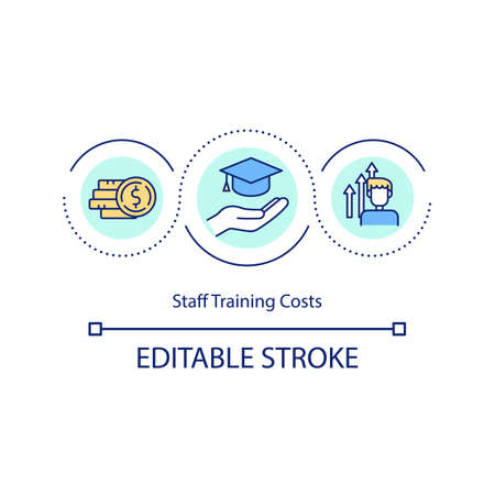 Staff training costs concept icon. Spending time and money searching for top talent. Upgrading staff idea thin line illustration. Vector isolated outline RGB color drawing. Editable stroke