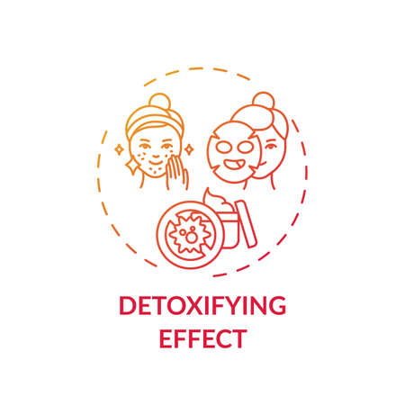 Detoxifying effect concept icon. Face mask idea thin line illustration. Revealing luminous skin. Reducing excess shine. Drawout excess oil, toxins. Vector isolated outline RGB color drawing