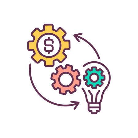 Business process optimization RGB color icon. Cost reduction measures. Element replacement. Company finance optimization. Gears with dollar sign. Producing optimize. Isolated vector illustration