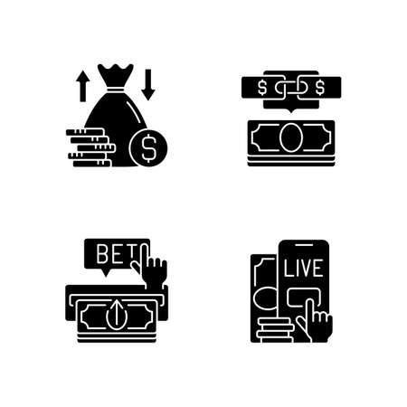 Bookmaking black glyph icons set on white space. Over and under bet. Parlay. Making deposit. Live betting. Predicting wager. Moneylines, game totals. Silhouette symbols. Vector isolated illustration