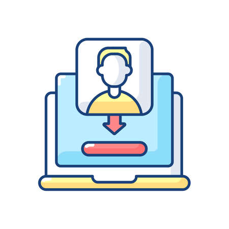 Unique visitor RGB color icon. Number of distinct individuals who request pages from website during specific period. Isolated vector illustration Vector Illustration