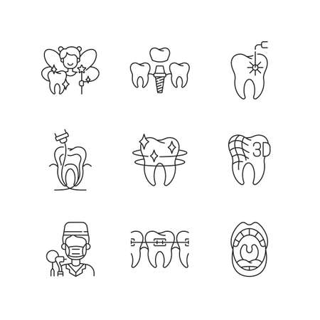 Denistry linear icons set. Instruments for dental treatment. Dental Implants. Pediatric dentistry. Customizable thin line contour symbols. Isolated vector outline illustrations. Editable stroke