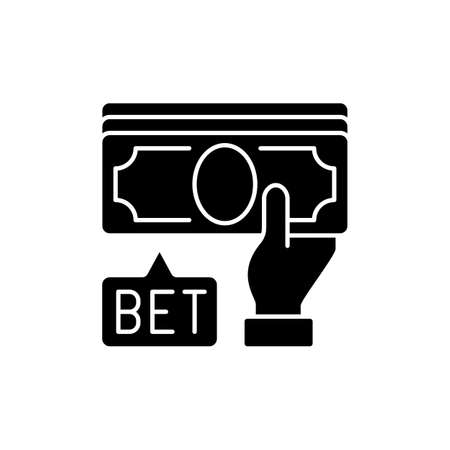 Placing bet black glyph icon. Gambling act. Betting money on sport events. Making wager on outcome. Placing bets to deposit value. Silhouette symbol on white space. Vector isolated illustration