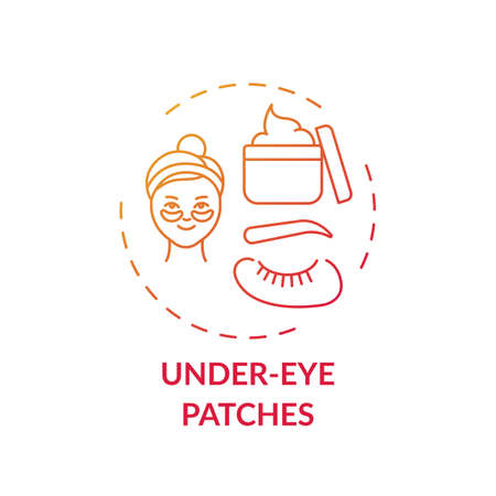 Under-eye patches concept icon. At-home face care procedure idea thin line illustration. Reducing fine lines. Well-rested appearance. Hydrating skin. Vector isolated outline RGB color drawing