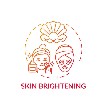 Skin brightening concept icon. Face mask effect idea thin line illustration. Skin lightening and bleaching. Shedding dead skin cells. Shimmery lotion. Vector isolated outline RGB color drawing Vecteurs