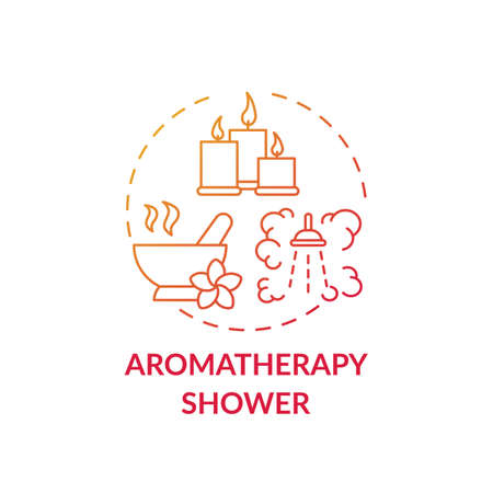 Aromatherapy shower concept icon. Home spa procedure idea thin line illustration. Headaches and migraines treatment. Alternative medicine. Reducing stress. Vector isolated outline RGB color drawing