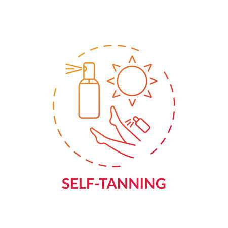 Self-tanning concept icon. Home beauty treatment idea thin line illustration. Suntan effect without sun. Cosmetic substance. Producing artificial suntan. Vector isolated outline RGB color drawing